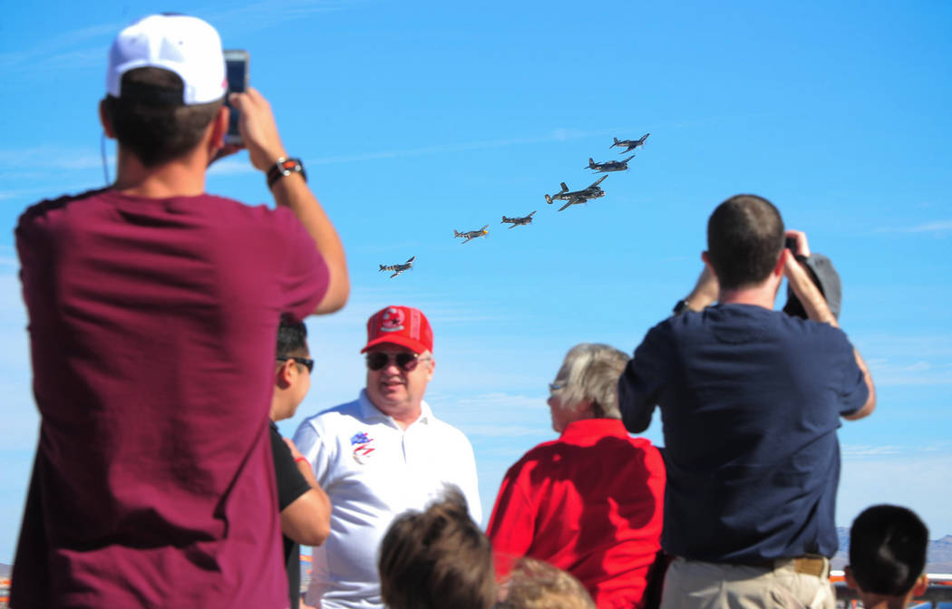 A flight of Allied World War II aircraft passes over spectators during Aviation Nation 2017 at Nellis Air Force Base in Las Vegas on Friday, Nov. 10, 2017. Brett Le Blanc/Las Vegas Review-Journal