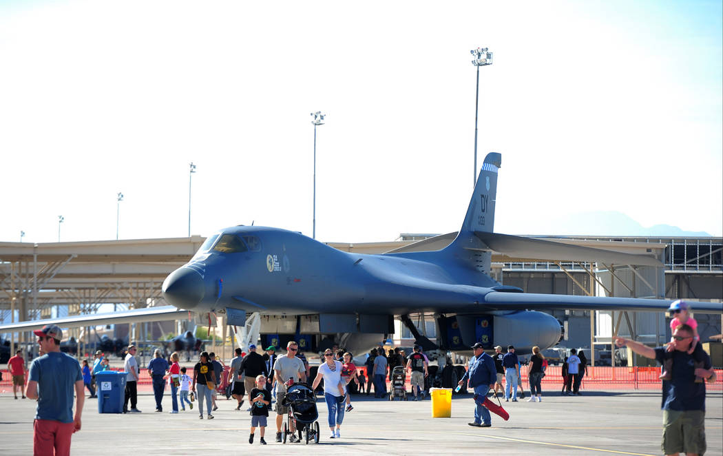 A B-1B bomber sits on display during Aviation Nation 2017 at Nellis Air Force Base in Las Vegas on Friday, Nov. 10, 2017. Brett Le Blanc/Las Vegas Review-Journal