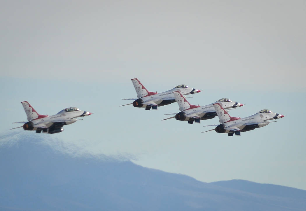 The United States Air Force Thunderbirds take off in formation during Aviation Nation 2017 at Nellis Air Force Base in Las Vegas on Friday, Nov. 10, 2017. Brett Le Blanc/Las Vegas Review-Journal