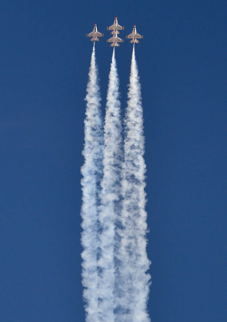 The United States Air Force Thunderbirds perform during Aviation Nation 2017 at Nellis Air Force Base in Las Vegas on Friday, Nov. 10, 2017. Brett Le Blanc/Las Vegas Review-Journal