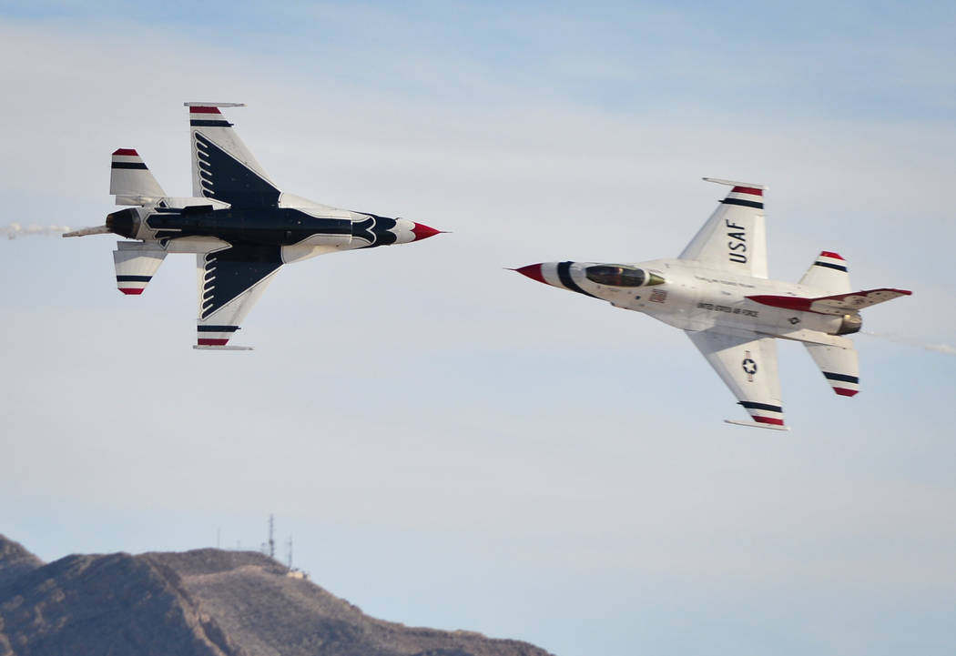 The United States Air Force Thunderbirds soloists make a knife-edge pass during Aviation Nation 2017 at Nellis Air Force Base in Las Vegas on Friday, Nov. 10, 2017. Brett Le Blanc/Las Vegas Review ...
