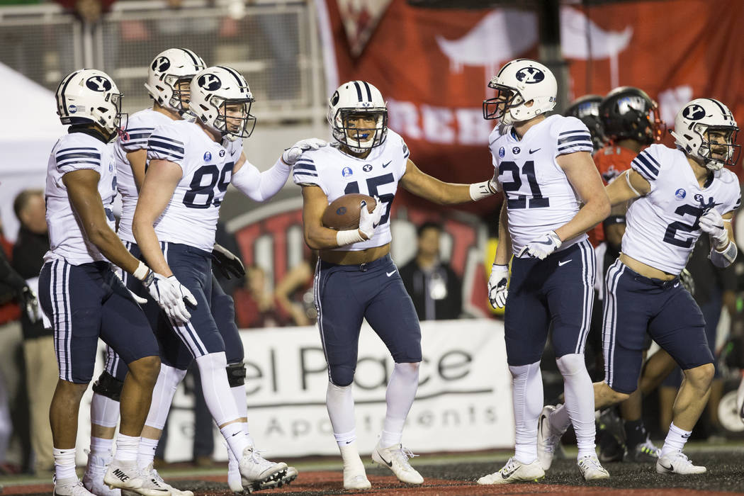 Brigham Young Cougars wide receiver Aleva Hifo (15) celebrates his touchdown against the UNLV Rebels in the football at Sam Boyd Stadium in Las Vegas, Friday, Nov. 10, 2017. Erik Verduzco Las Vega ...