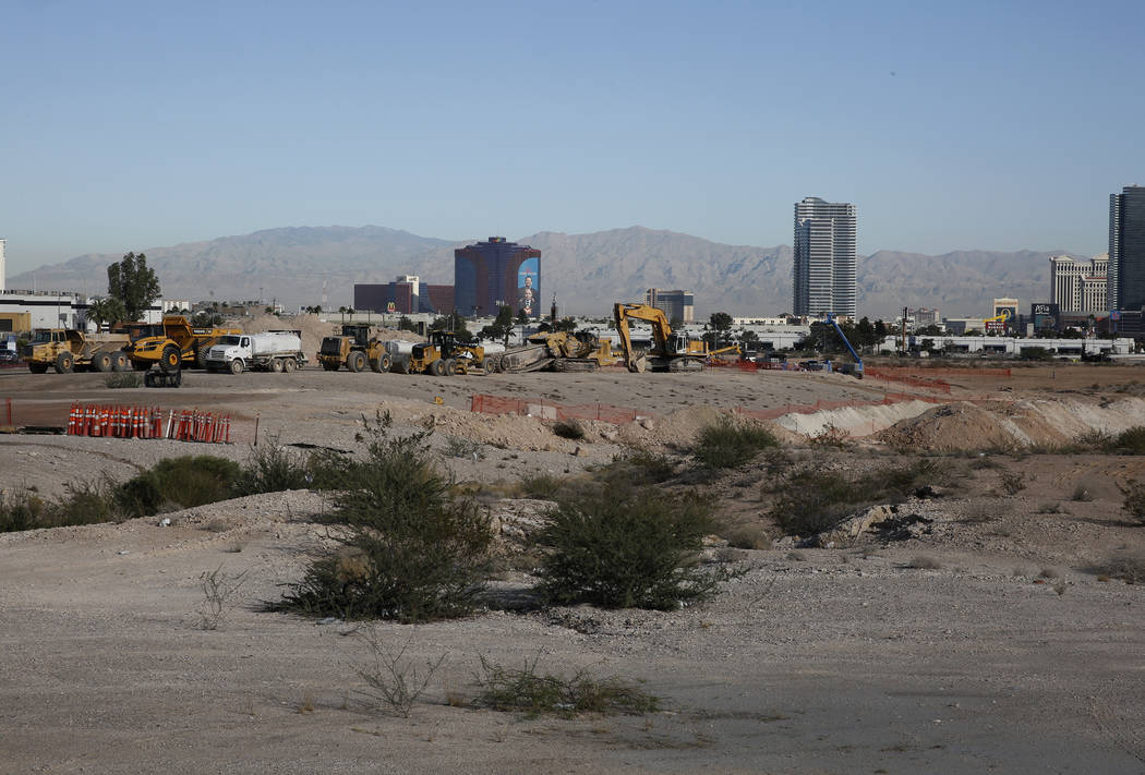 Heavy-construction trucks inside the Raiders stadium site, near Hacienda Avenue and Dean Martin Drive on Tuesday, Nov. 7, 2017, in Las Vegas. Bizuayehu Tesfaye/Las Vegas Review-Journal @bizutesfaye
