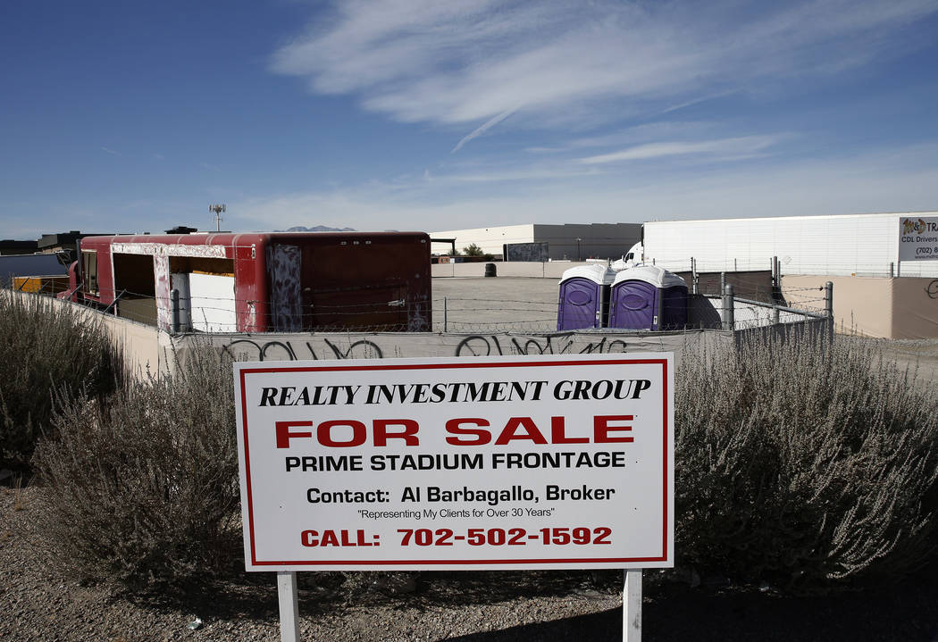 A for sale sign is posted outside a property across the street from the Raiders stadium site at the corner of Polaris Avenue and Russel Road Wednesday, Nov. 8, 2017, in Las Vegas. Bizuayehu Tesfay ...