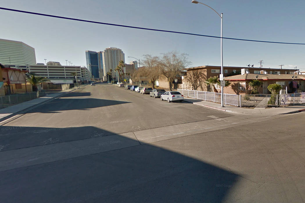 The 1700 block of Fairfield Avenue, near the intersection of Main Street and Las Vegas Boulevard. Google Street View.
