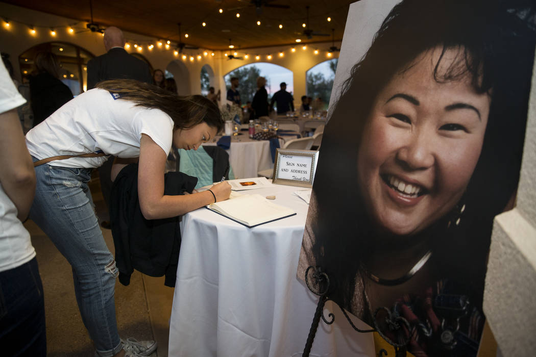 Makayla Putman, attends a celebration of the life of her former coworker Laura Shipp, who died in the Route 91 Harvest Festival, at the Las Vegas Golf Club in Las Vegas, Wednesday, Nov. 8, 2017. E ...