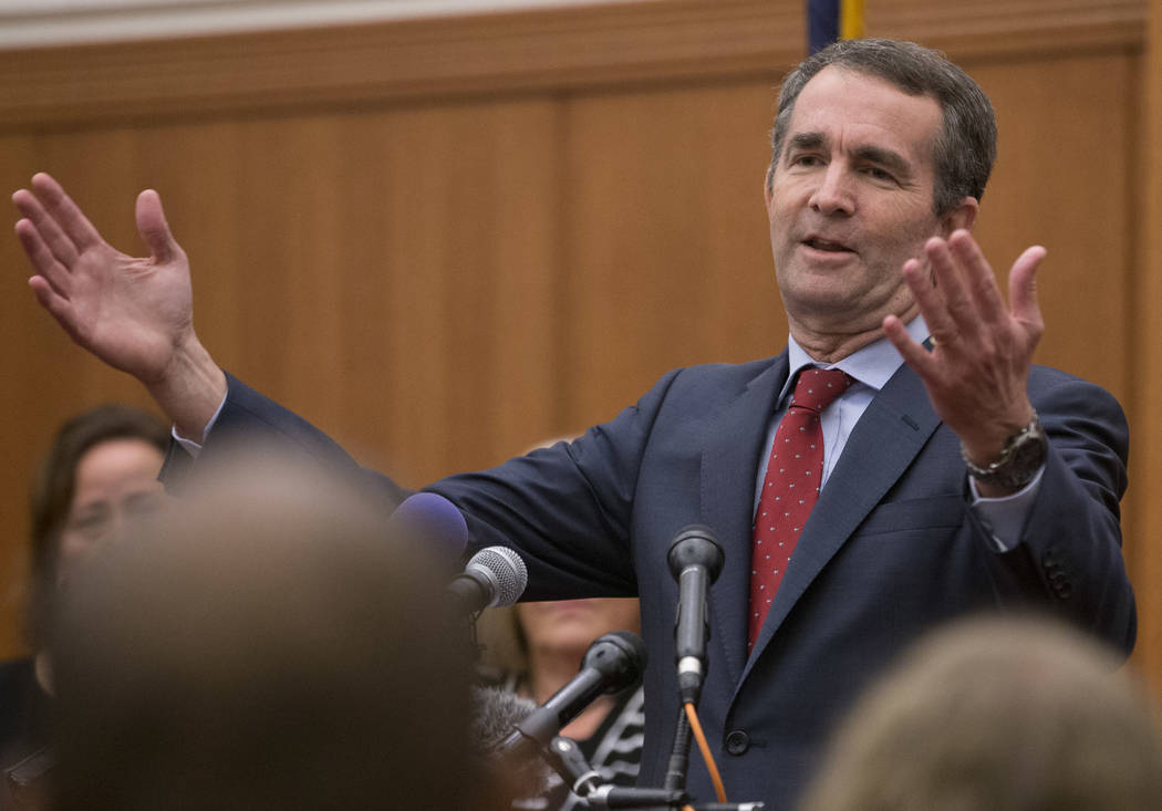 Virginia Gov.-elect, Ralph Northam gestures during a news conference at the Capitol in Richmond, Va., Wednesday, Nov. 8, 2017. Northam defeated Republican Ed Gillespie in Tuesday's election. (AP P ...