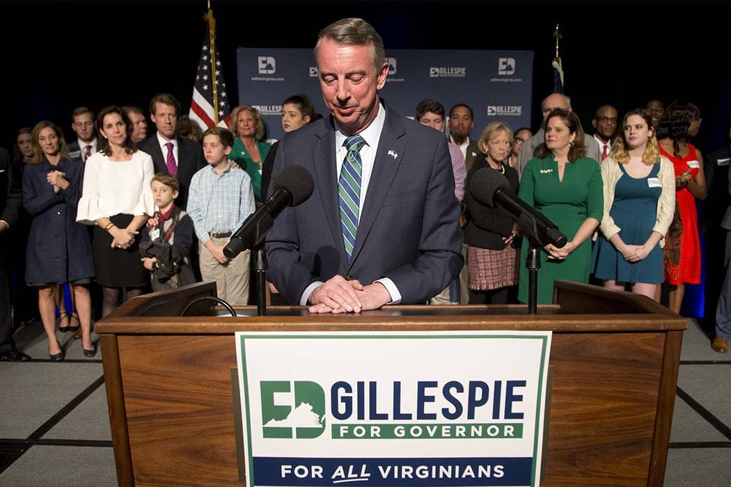 Republican gubernatorial candidate Ed Gillespie pauses as he delivers a concession speech during an election party in Richmond, Va., Tuesday, Nov. 7, 2017. Gillespie lost to Democrat Ralph Northam ...