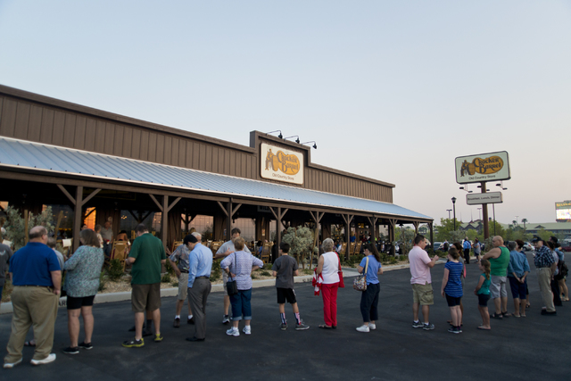 The most recent addition to the Silverton property was Las Vegas's first Cracker Barrel restaurant. Customers line up during the grand opening of Las Vegas' first Cracker Barrel location near the  ...