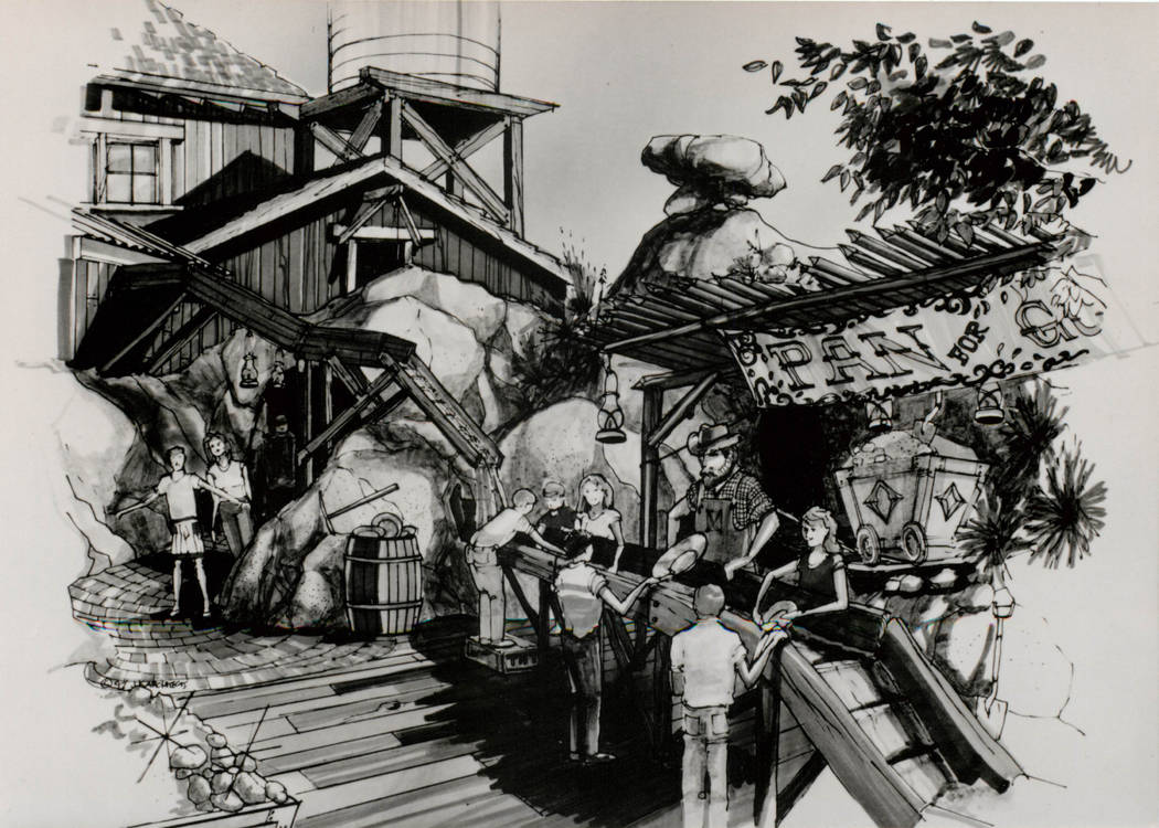"This early 1990s concept drawing shows visitors panning for gold. The Boomtown Hotel & Casino was advertised as ""a fully-themed mining town"" featuring ""a 300-room hotel, a 500-space deluxe RV  ..."