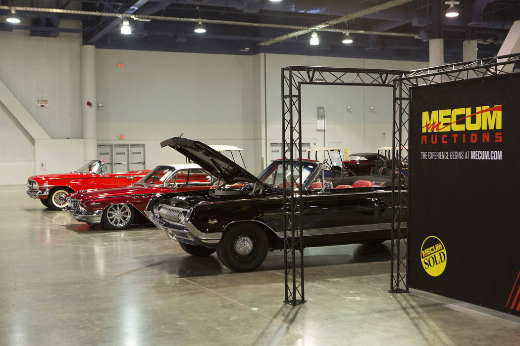 Cars are staged in preparation for the Mecum Auction, a live auction of collector and classic cars, at Las Vegas Convention Center in Las Vegas on Tuesday, Nov. 14, 2017. Boulder City won 3-2. Bri ...