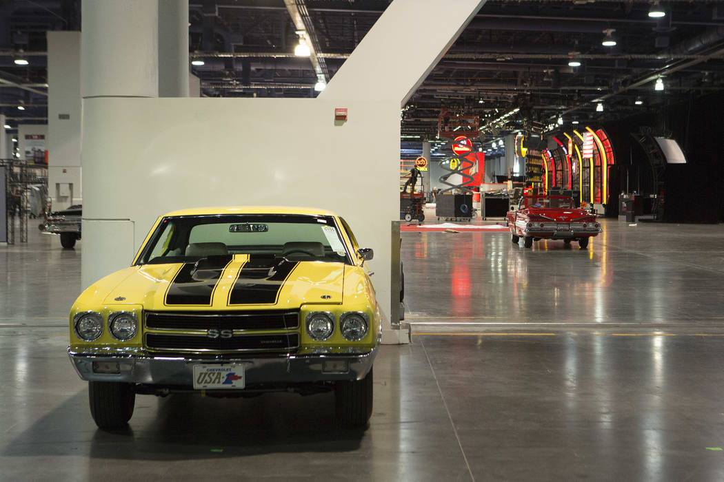 A 1970 Chevrolet COPO Chevelle is staged in preparation for the Mecum Auction, a live auction of collector and classic cars, at Las Vegas Convention Center in Las Vegas on Tuesday, Nov. 14, 2017.  ...