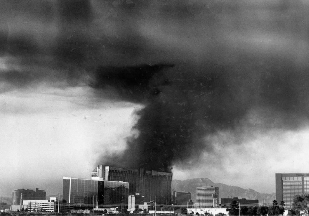 Smoke rises from the former MGM hotel-casino during a fire on Nov. 21, 1980 in Las Vegas. Scott Henry Las Vegas Review-Journal