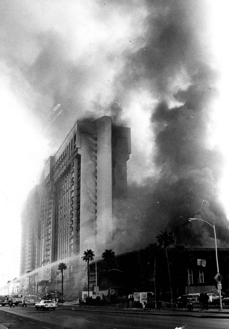Smoke billows from the former MGM Grand hotel-casino from a fireball that raced across the casino floor on Nov. 21, 1980 in Las Vegas. Gary Thompson Las Vegas Review-Journal File Photo