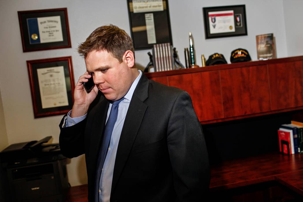 Attorney Craig W. Drummond, 38, answers a call inside his law firm office in Las Vegas, Thursday, Nov. 16, 2017. Joel Angel Juarez Las Vegas Review-Journal @jajuarezphoto