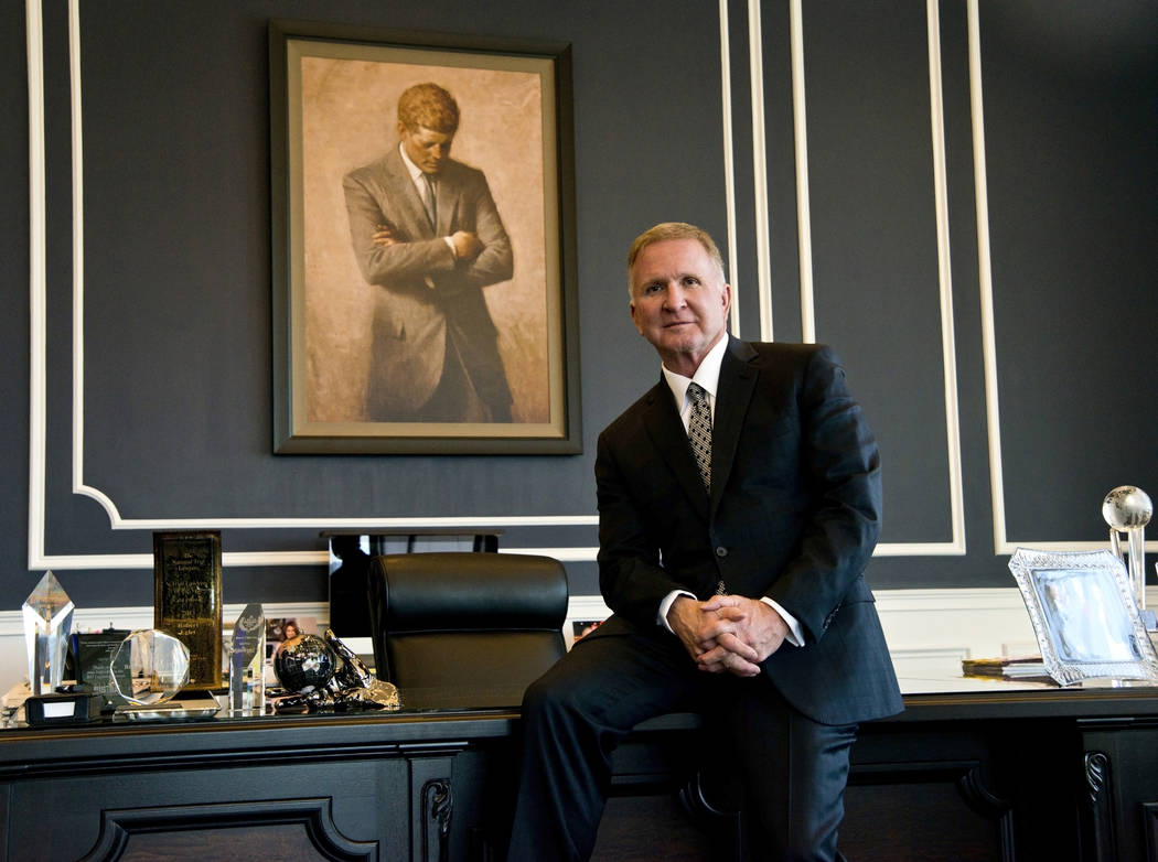 Attorney Robert Eglet poses for a photograph inside his office at the Eglet Prince law firm in downtown Las Vegas on Friday, Nov. 10, 2017. Daniel Clark/Las Vegas Review-Journal Follow @DanJClarkPhoto