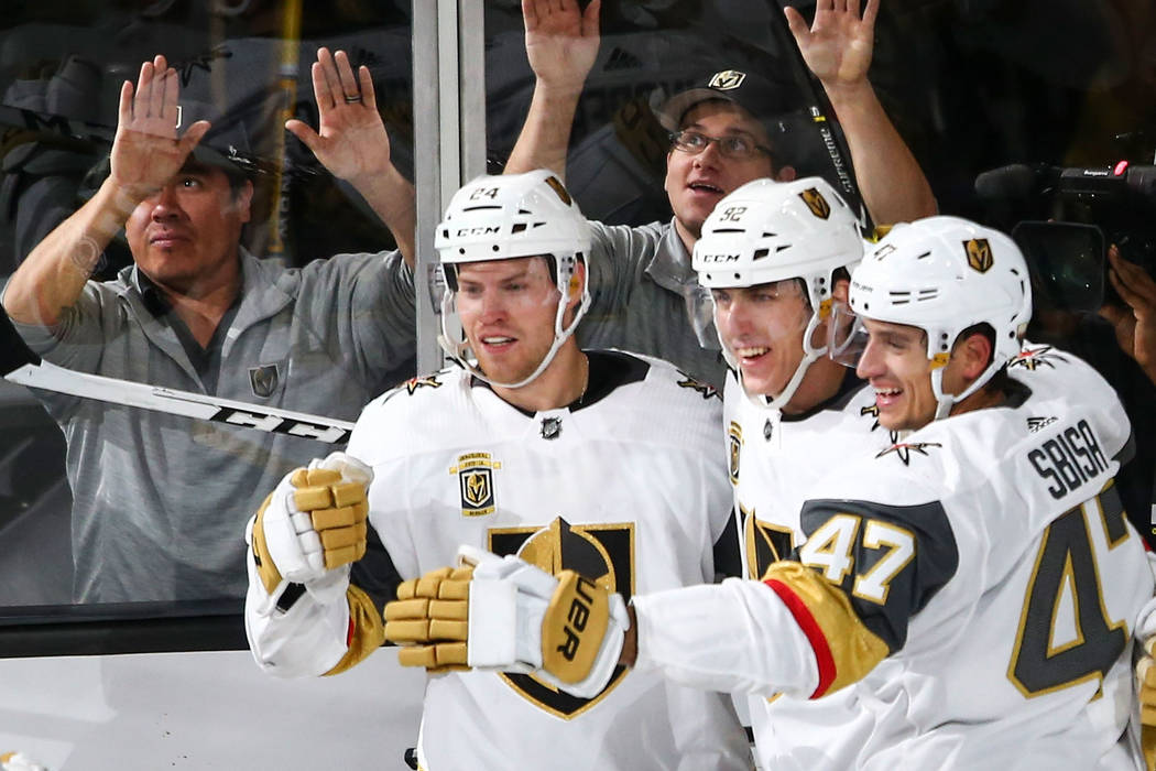 Golden Knights' Oscar Lindberg, second from left, celebrates his goal with teammates during an NHL hockey game against the Colorado Avalanche at T-Mobile Arena in Las Vegas on Friday, Oct. 27, 201 ...