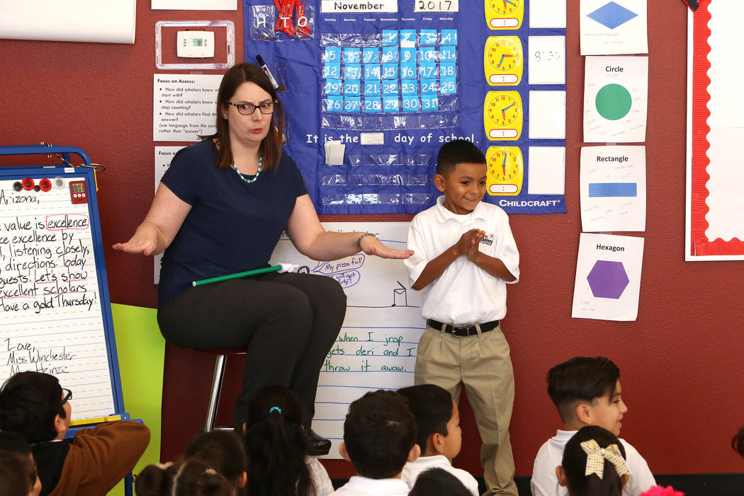 Jennifer Winchester reacts in front of her first grade students as Eli Camacho, 7, prepares to sing songs at Futuro Academy, Thursday, Nov. 9, 2017, in Las Vegas. Bizuayehu Tesfaye/Las Vegas Revie ...