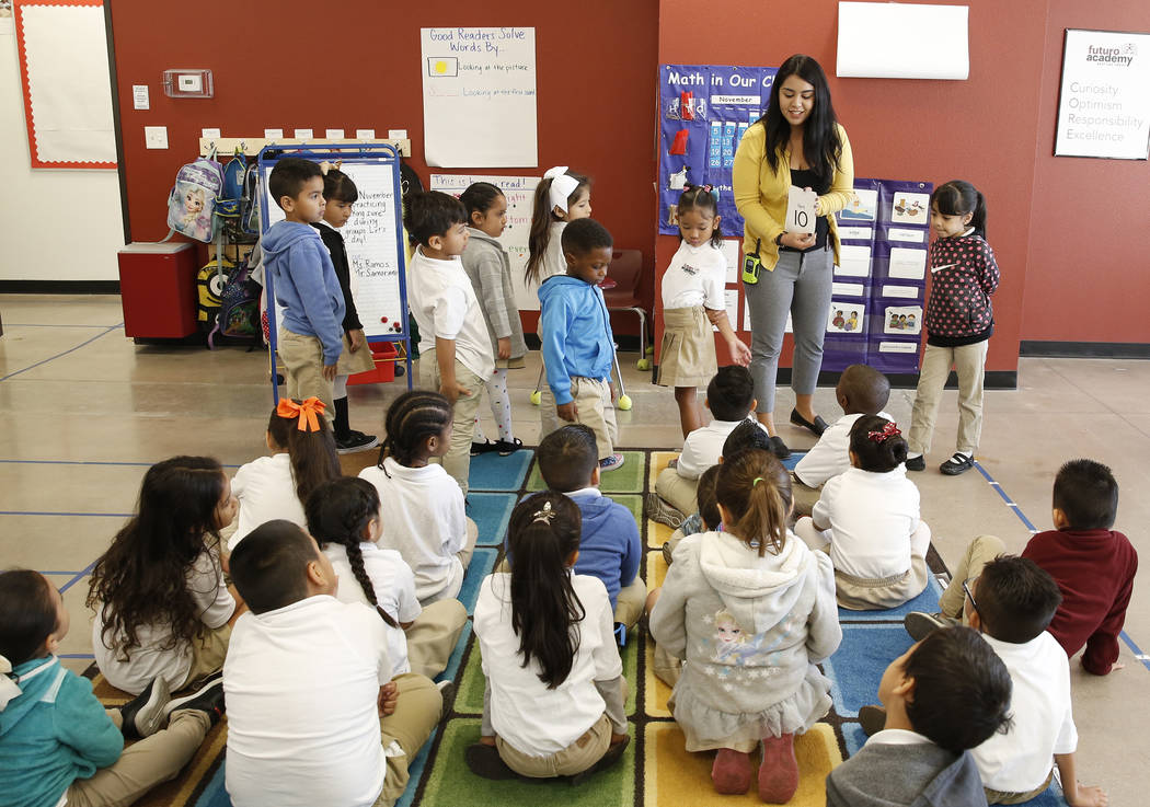 Viviana Ramos teaches her kindergarten students at Futuro Academy, Thursday, Nov. 9, 2017, in Las Vegas. Bizuayehu Tesfaye/Las Vegas Review-Journal @bizutesfaye