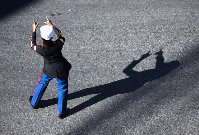 A woman acknowledges the crowd during the Veterans Day Parade on 4th Street in downtown Las Vegas on Friday, Nov., 11, 2016. Jeff Scheid/Las Vegas Review-Journal Follow @jeffscheid
