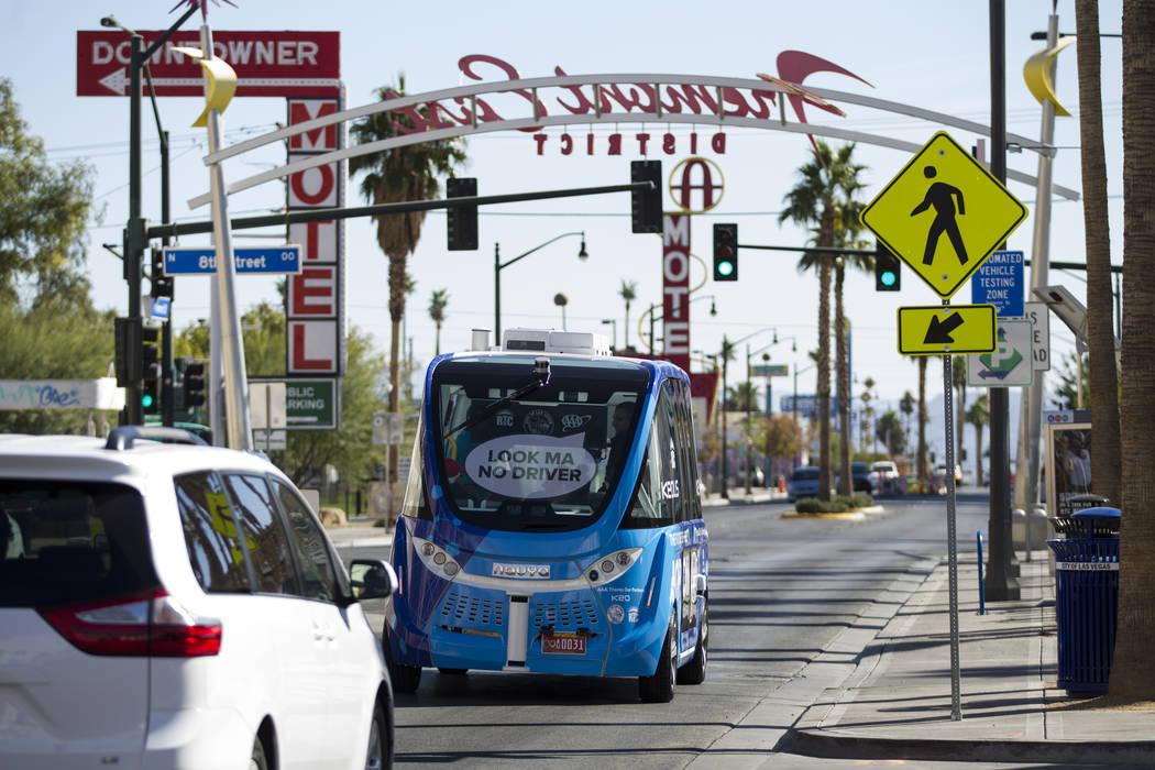 A driverless electric shuttle tours passengers downtown following a launch event at the Container Park in Las Vegas, Wednesday, Nov. 8, 2017. Erik Verduzco Las Vegas Review-Journal @Erik_Verduzco