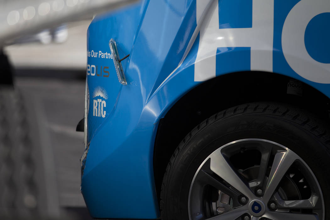 Damage to a driverless electric shuttle near Fremont Street and S. 6th Street in Las Vegas during the launch day of the autonomous vehicle, Wednesday, Nov. 8, 2017. The autonomous vehicle was invo ...