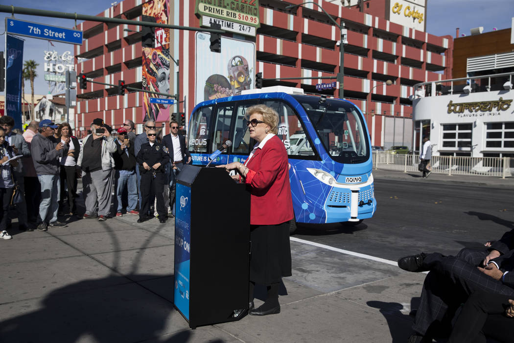 Las Vegas Mayor Carolyn Goodman during the launch event of the driverless electric shuttle at the Container Park in Las Vegas, Wednesday, Nov. 8, 2017. Erik Verduzco Las Vegas Review-Journal @Erik ...