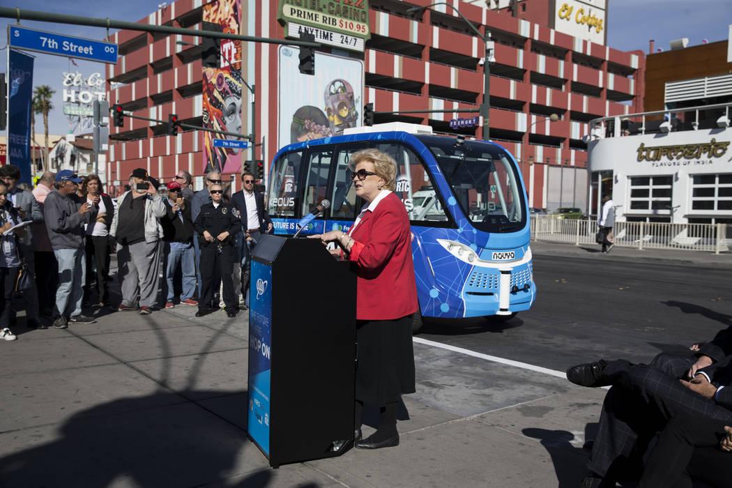 Las Vegas Mayor Carolyn Goodman during the launch event of the driverless electric shuttle at the Container Park in Las Vegas, Wednesday, Nov. 8, 2017. Erik Verduzco Las Vegas Review-Journal @Erik ...