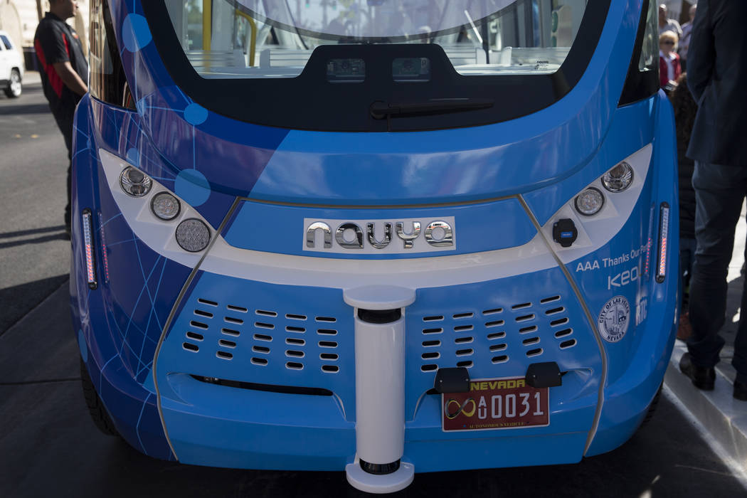 A driverless electric shuttle during the launch event at the Container Park in Las Vegas, Wednesday, Nov. 8, 2017. Erik Verduzco Las Vegas Review-Journal @Erik_Verduzco
