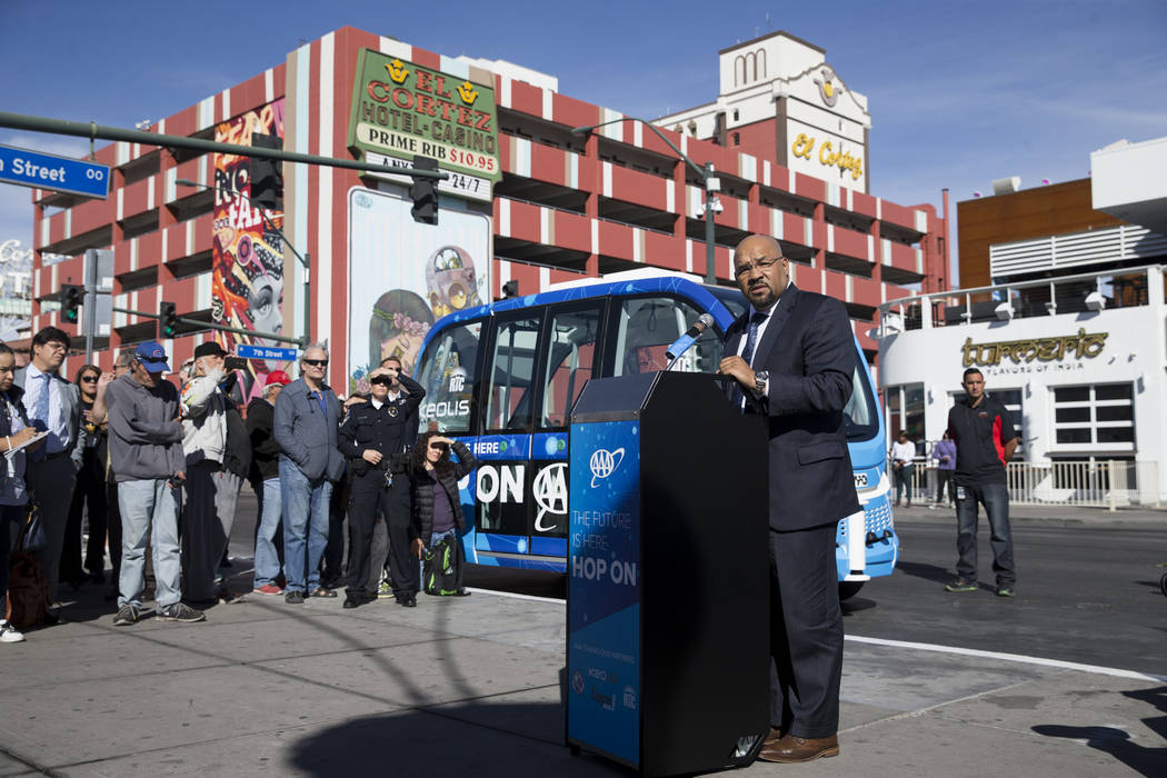 Maurice Bell, vice president of Mobility Solutions for Keolis Transit America, during the launch event of the driverless electric shuttle at the Container Park in Las Vegas, Wednesday, Nov. 8, 201 ...