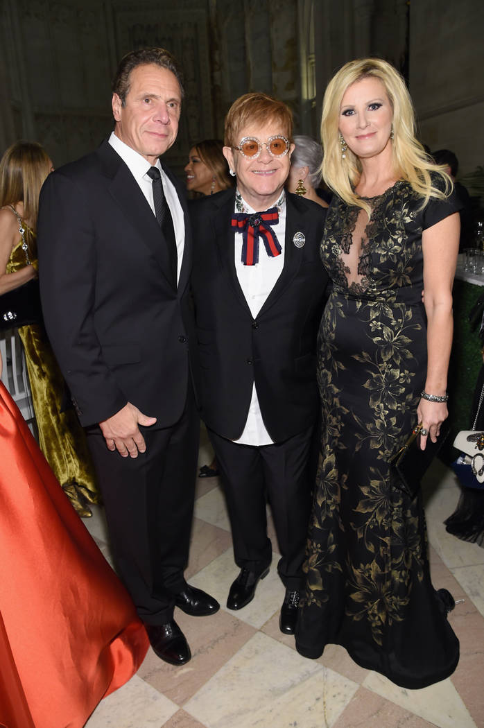 Andrew Cuomo, Elton John and Sandra Lee attend the Elton John AIDS Foundation gala. (Jamie McCarthy/Getty Images)