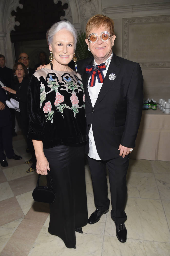 Glenn Close and Elton John attend the Elton John AIDS Foundation. (Jamie McCarthy/Getty Images)