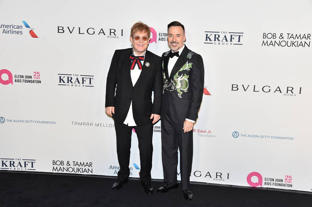 Sir Elton John and David Furnish attend the Elton John AIDS Foundation event. (Theo Wargo/Getty Images)