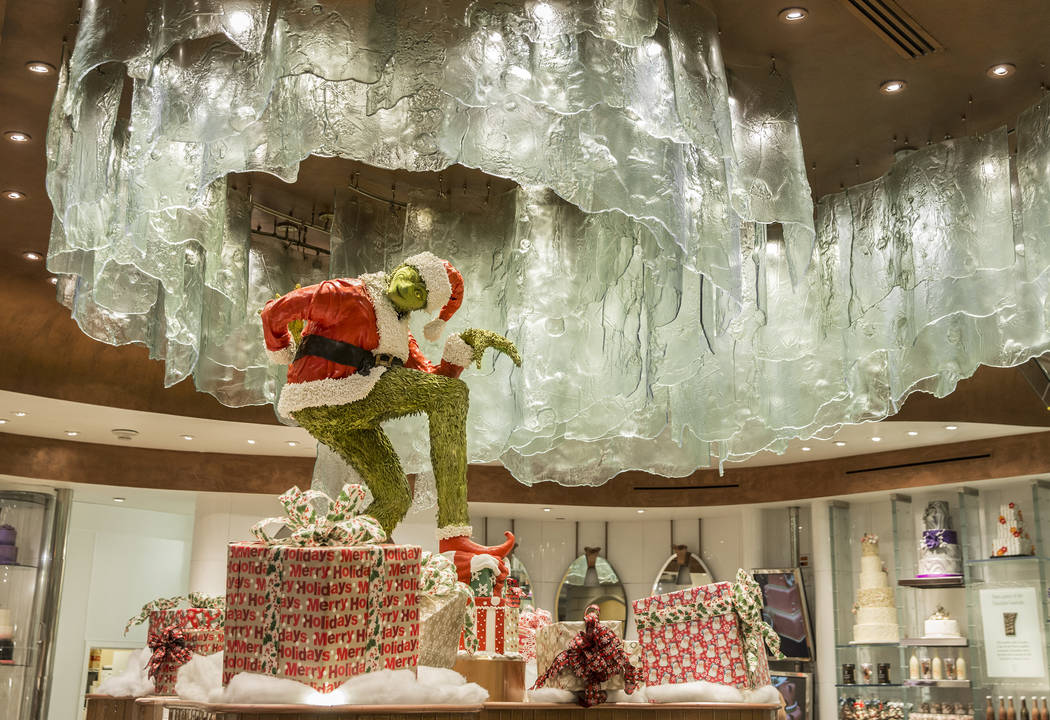 A chocolate Grinch at The Bellagio hotel-casino, on Thursday, Nov. 9, 2017, in Las Vegas. Benjamin Hager Las Vegas Review-Journal @benjaminhphoto
