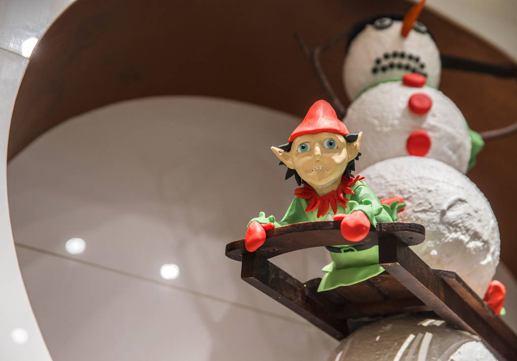 Chocolate elves line the walls at The Bellagio hotel-casino, on Thursday, Nov. 9, 2017, in Las Vegas. Benjamin Hager Las Vegas Review-Journal @benjaminhphoto