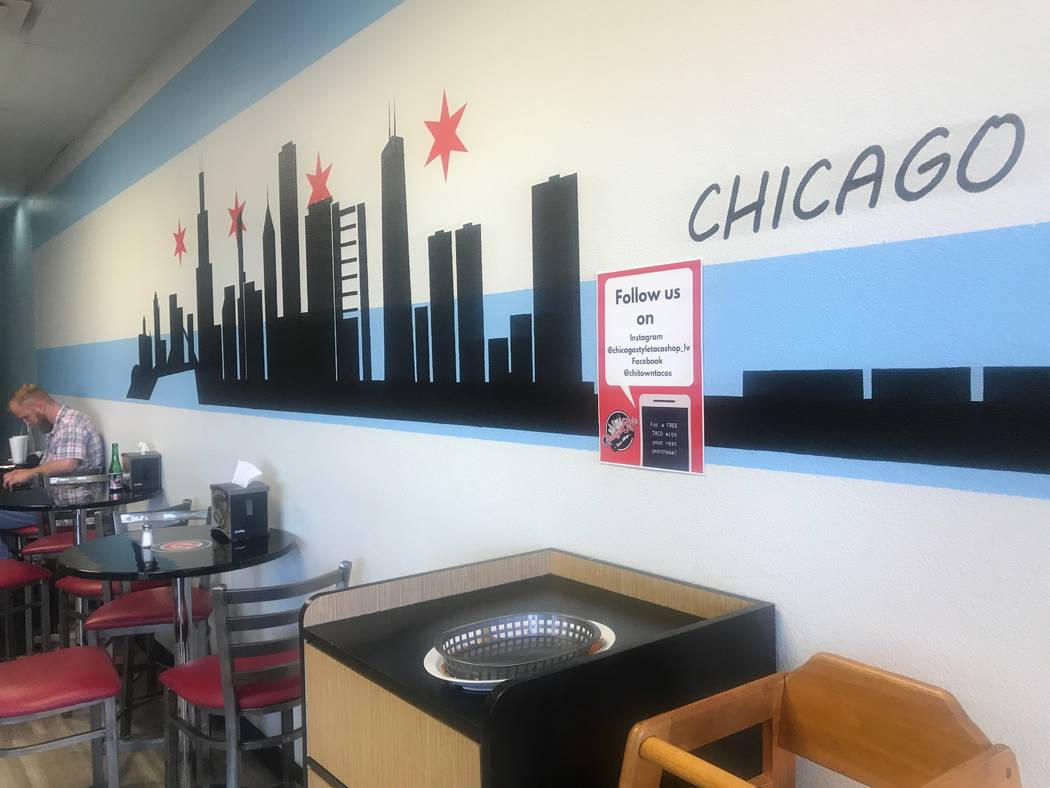 A portrait of Chicago is displayed on the wall at Chicago Style Taco Shop at 3415 W. Craig Road. (Kailyn Brown/View) @KailynHype