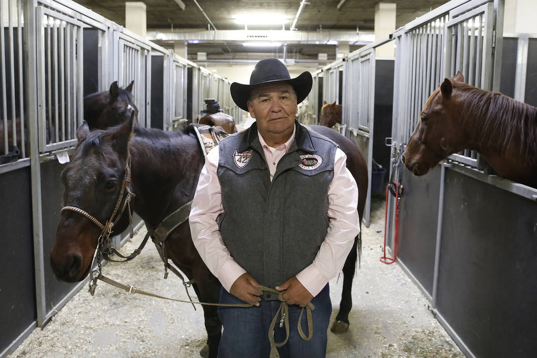 Sam Bird of Cut Bank, Mo., a legend in the Indian Rodeo,  with his brother-in-law's horse, Keep Single, at South Point Arena Thursday, Nov. 9, 2017, in Las Vegas. Bizuayehu Tesfaye/Las Vegas Revie ...