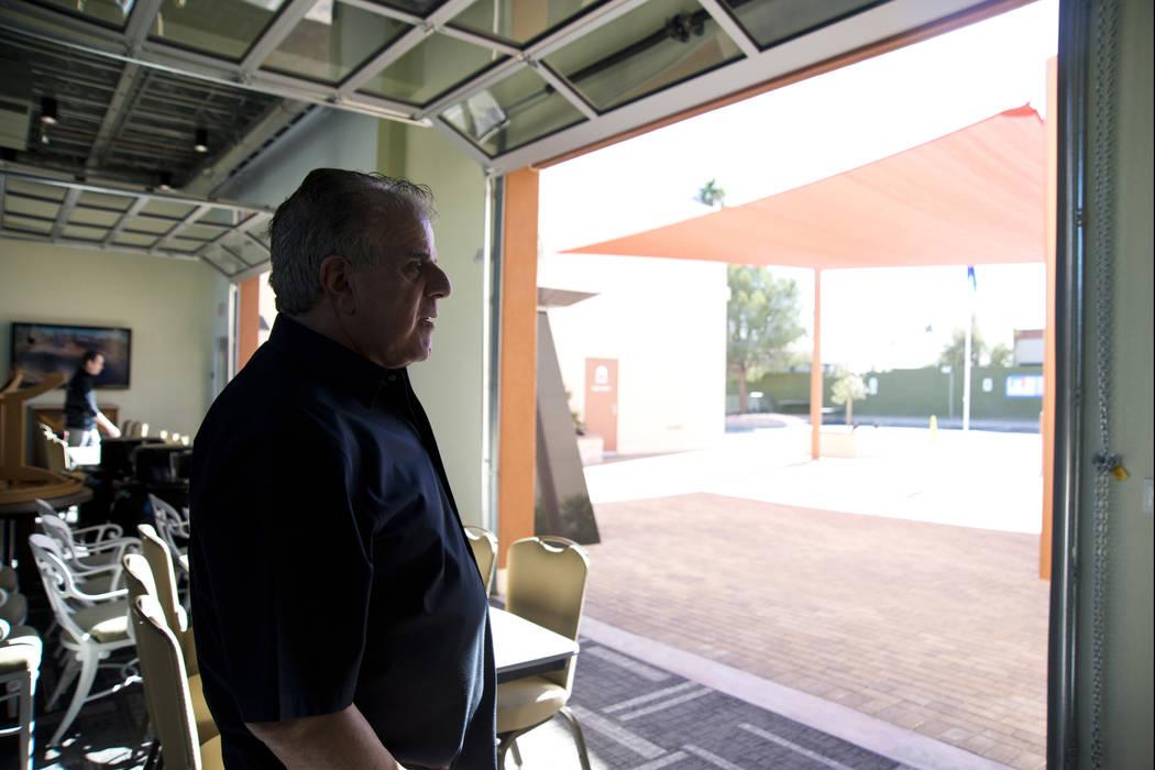 Veterans Village President Arnold Stalk looks out over the courtyard of the newly established Veterans Village Crisis Intervention Center in Las Vegas on Friday, Nov. 10, 2017. Daniel Clark/Las Ve ...
