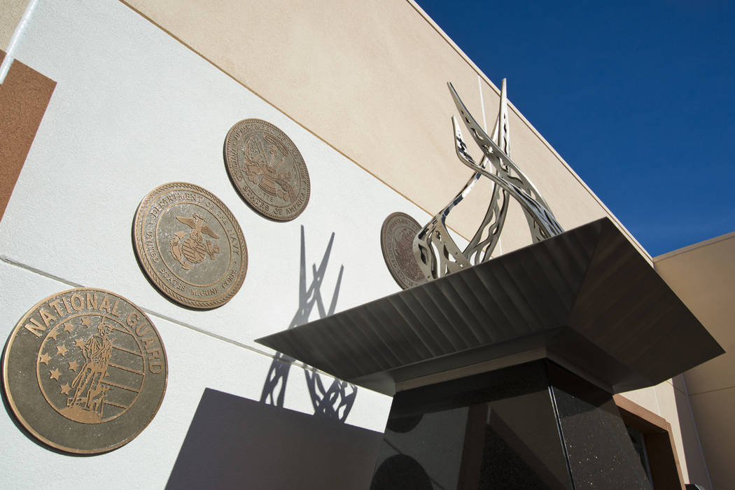 A statue meant to embody the eternal flame is seen at the newly established Veterans Village Crisis Intervention Center in Las Vegas on Friday, Nov. 10, 2017. Daniel Clark/Las Vegas Review-Journal ...
