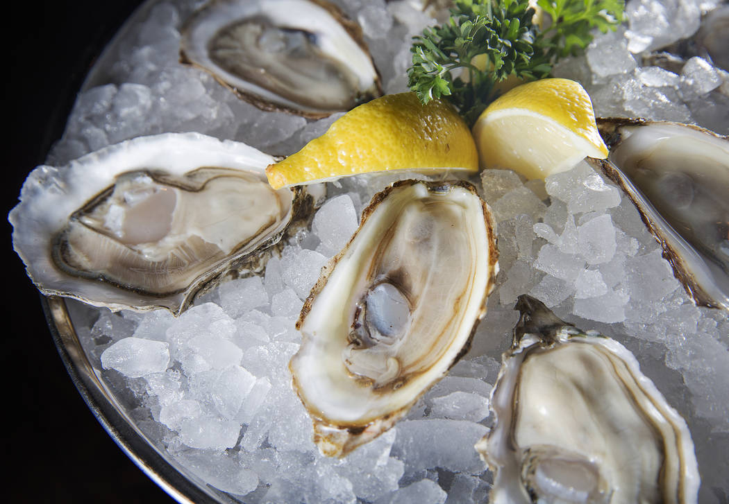 Raw west coast oysters at Blue Ribbon on Thursday, Nov. 16, 2017, at The Cosmopolitan, in Las Vegas.  Benjamin Hager Las Vegas Review-Journal @benjaminhphoto