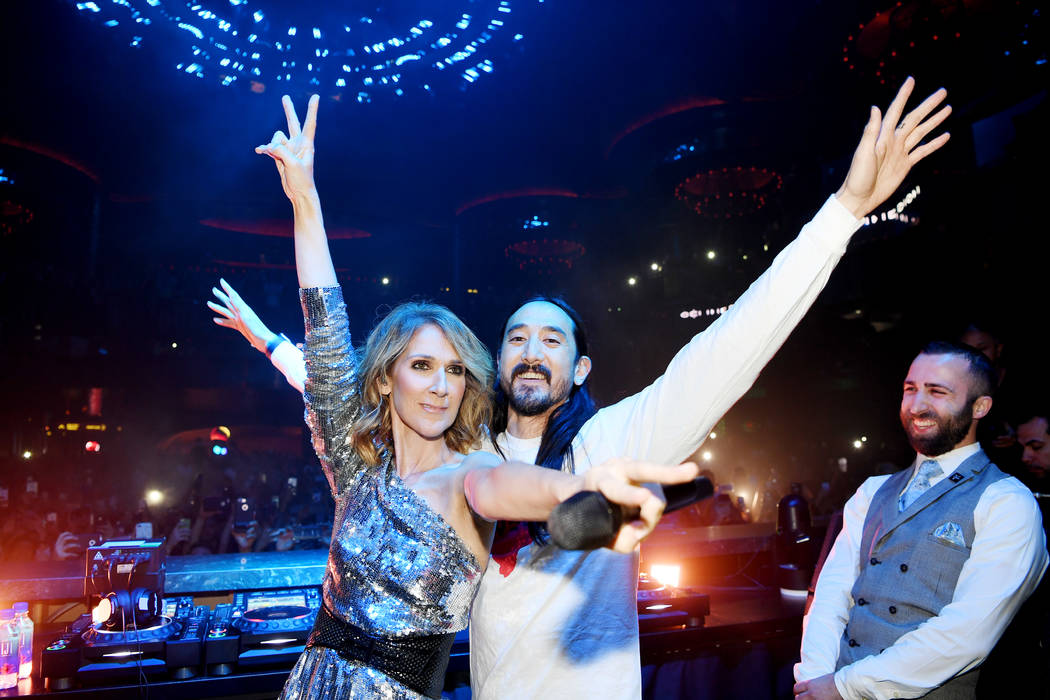 Celine Dion and Steve Aoki are shown at Omnia Nightclub at Caesars Palace at the Benefit Concert to support the Las Vegas Victims Fund on Tuesday, Nov. 7, 2017. (Denise Truscello)