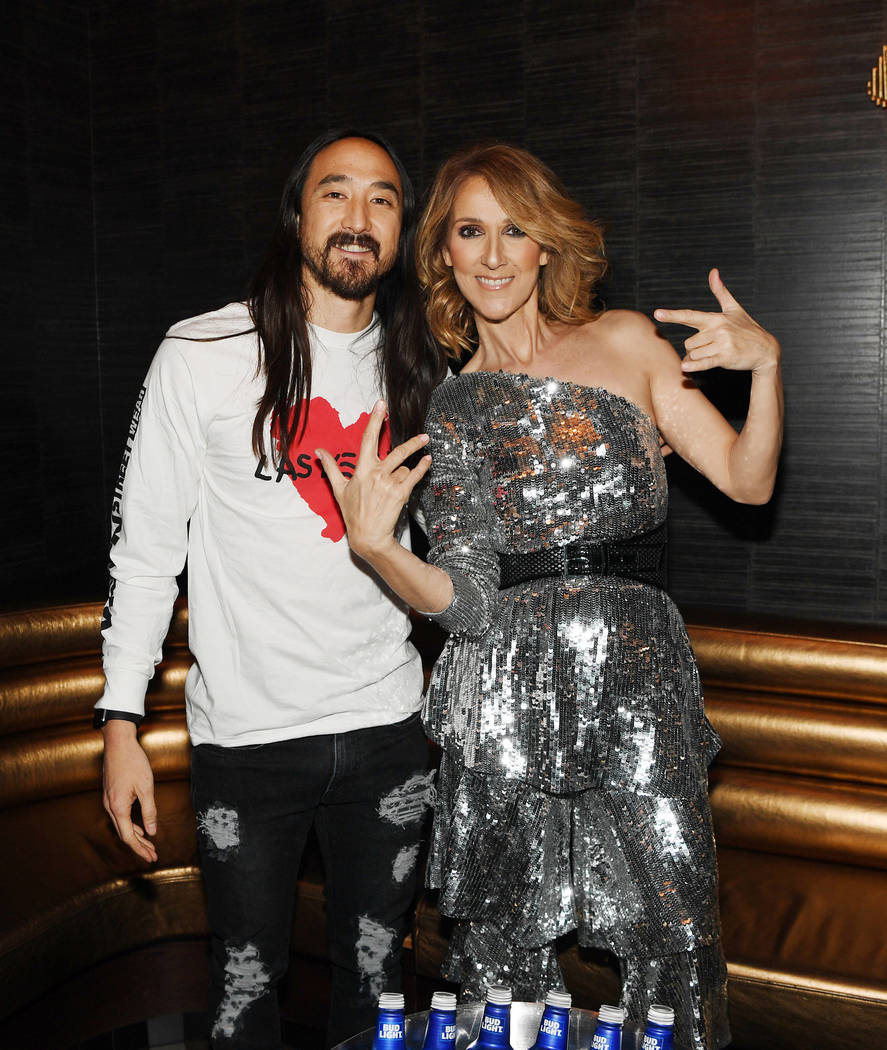 Steve Aoki and Celine Dion are shown at Omnia Nightclub at Caesars Palace at the Benefit Concert to support the Las Vegas Victims Fund on Tuesday, Nov. 7, 2017. (Denise Truscello)