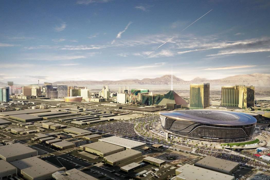 An aerial view rendering of the Las Vegas Raiders stadium project. (MANICA Architecture)