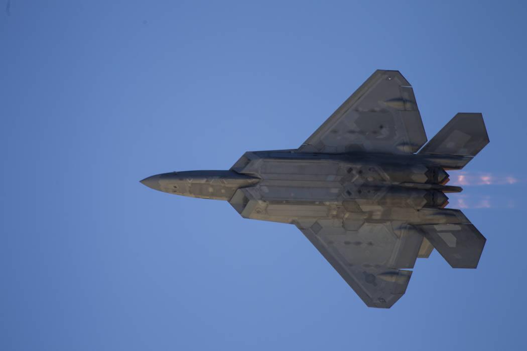An F-22 Raptor performs during Aviation Nation at Nellis Air Force Base in Las Vegas, Saturday, Nov. 11, 2017. Erik Verduzco Las Vegas Review-Journal @Erik_Verduzco