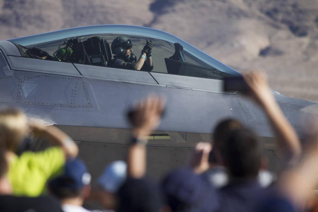 An F-22 Raptor pilot waves after landing during Aviation Nation at Nellis Air Force Base in Las Vegas, Saturday, Nov. 11, 2017. Erik Verduzco Las Vegas Review-Journal @Erik_Verduzco