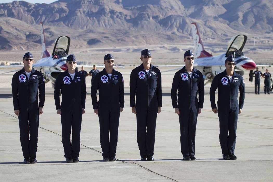 Thunderbirds pilots from left, Lt. Col. Jason Heard, Maj. Ryan Bodenheimer, Maj. Nate Hofmann, Maj. Nick Krajicek, Maj. Alex Turner, and Maj. Whit Collins, before performing during Aviation Nation ...