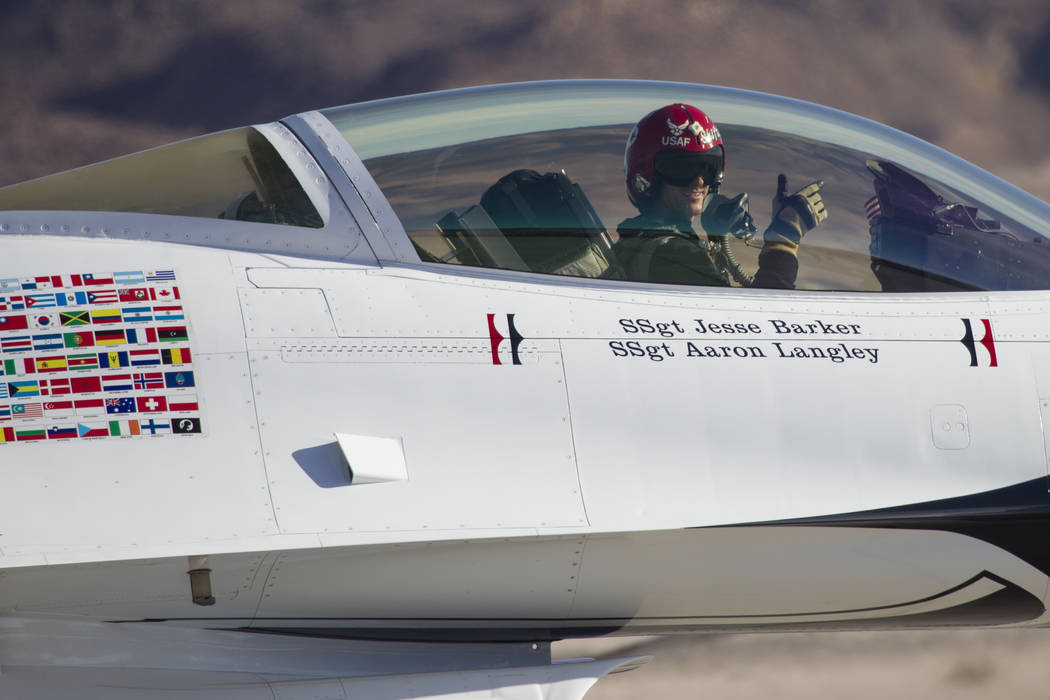 Thunderbirds Pilot Lt. Col. Jason Heard gestures as he gets ready to perform during Aviation Nation at Nellis Air Force Base in Las Vegas, Saturday, Nov. 11, 2017. Erik Verduzco Las Vegas Review-J ...