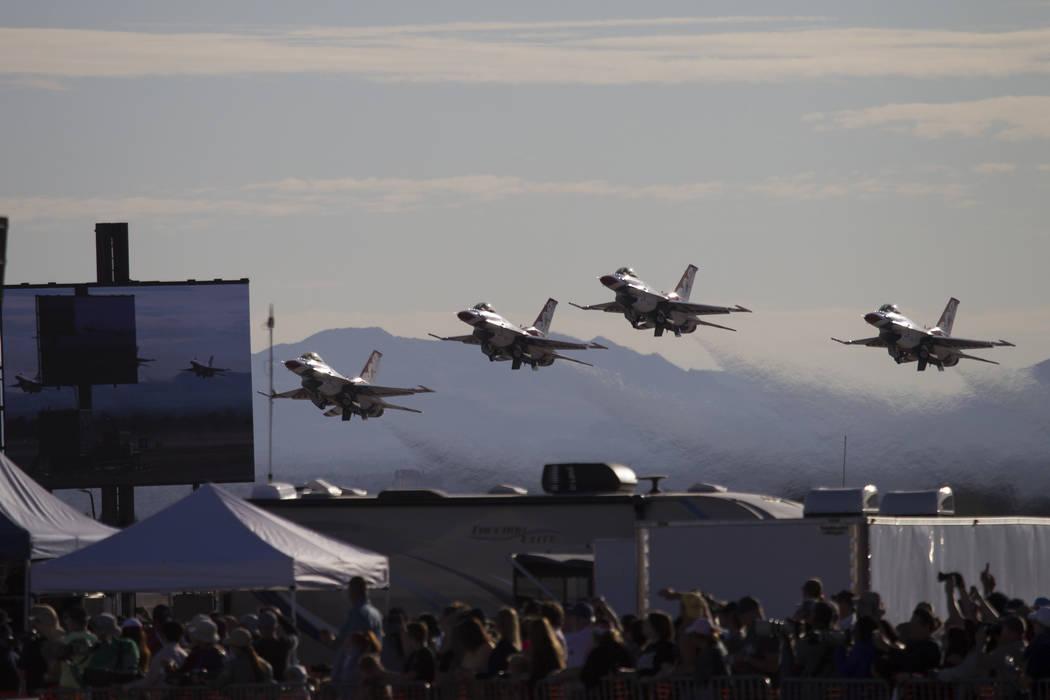 The Thunderbirds take the air to perform during Aviation Nation at Nellis Air Force Base in Las Vegas, Saturday, Nov. 11, 2017. Erik Verduzco Las Vegas Review-Journal @Erik_Verduzco