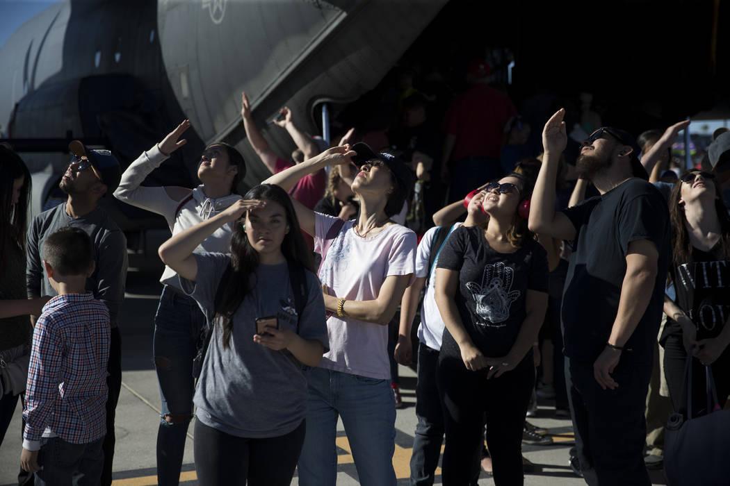 People watch planes perform during Aviation Nation at Nellis Air Force Base in Las Vegas, Saturday, Nov. 11, 2017. Erik Verduzco Las Vegas Review-Journal @Erik_Verduzco