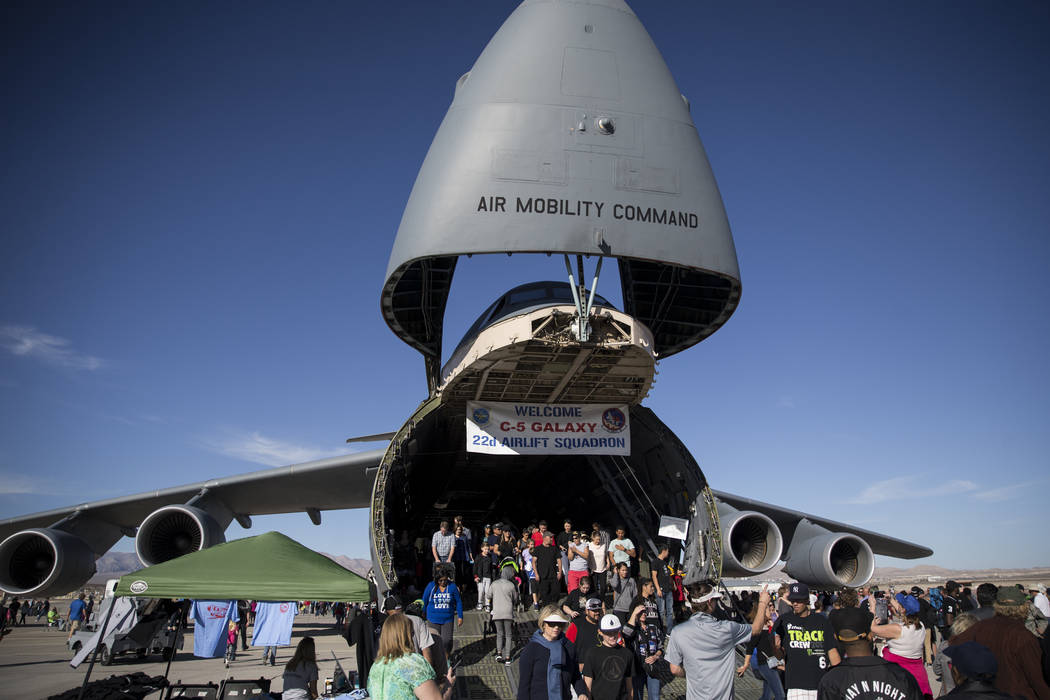 People tour the Lockheed C-5 Galaxy during Aviation Nation at Nellis Air Force Base in Las Vegas, Saturday, Nov. 11, 2017. Erik Verduzco Las Vegas Review-Journal @Erik_Verduzco